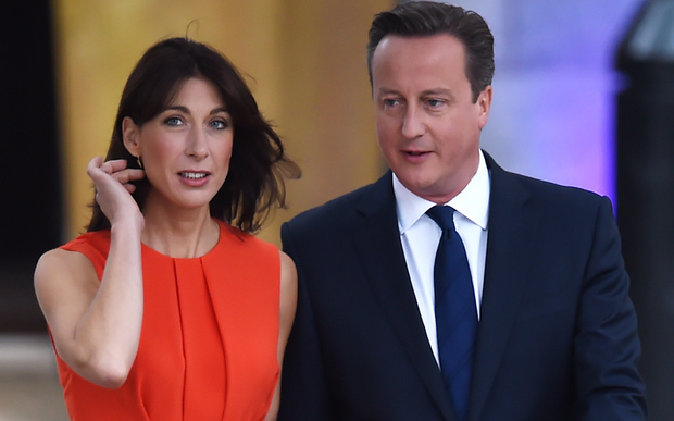 UK Prime Minister David Cameron, right, and his wife Samantha Cameron
