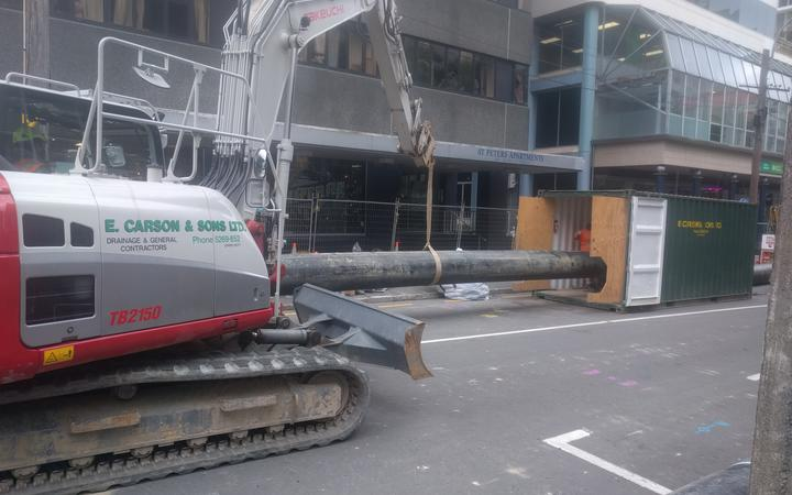 The 600mm pipe for the temporary above-ground sewer in Wellington now extending 160 metres along Willis St.
