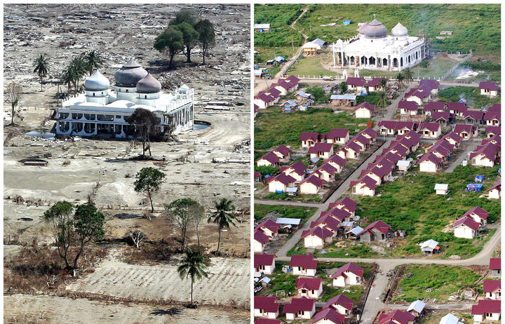 A file photo (left) taken 15 January, 2005 of an Aceh mosque only a few weeks after the 2004 tsunami devastated the coast of Aceh, and a 08 December, 2006 handout picture (right) taken by the Aceh and Nias Reconstruction and Rehabilition Agency.