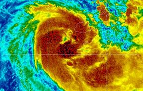 Visible infra-red satellite imagery of Cyclone Sarai as it churns down the west coast of Fiji.