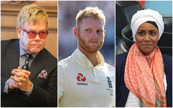 Sire Elton John, cricketer Ben Stokes and TV cook Nadiya Hussain were among those on the honours list.