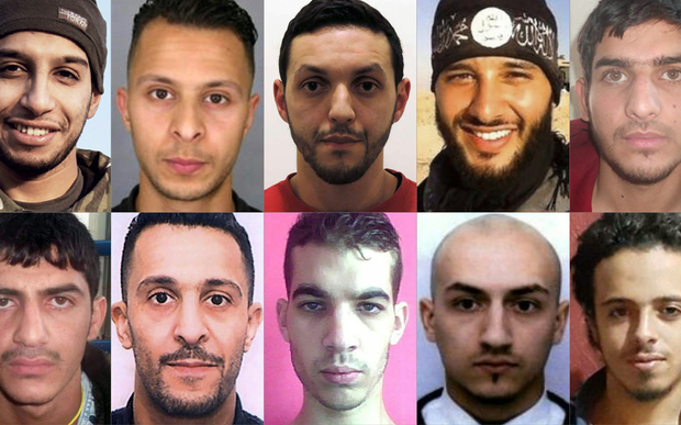 Mohamed Abrini, top centre, was the key remaining suspect of the Paris attacks, seen here with other persons involved in the November 13 attack.