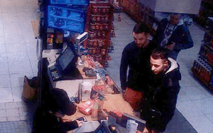 Salah Abdeslam, right, and Mohamed Abrini are captured on CCTV footage buying goods from a petrol station two days before the Paris attacks.