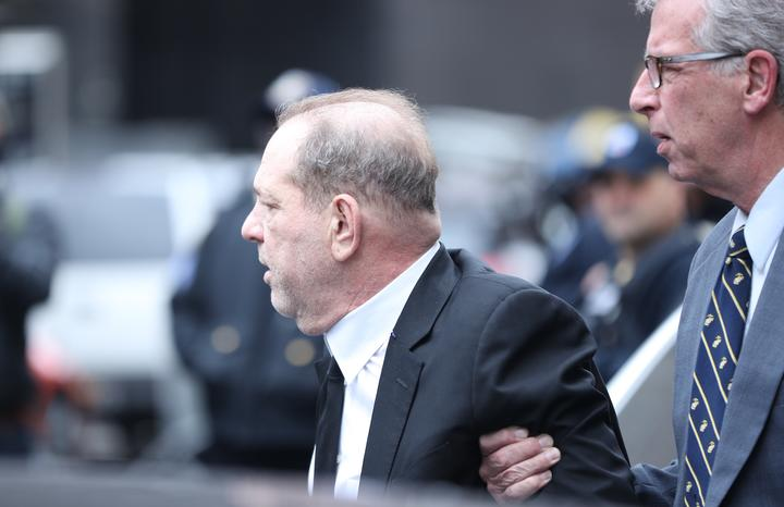 Harvey Weinstein leaves the New York Supreme Court  after the first day of his trial on charges of sexual assault.