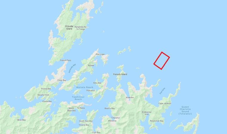 Highlighted in red is NZ King Salmon's proposed 1792-hectare farm.