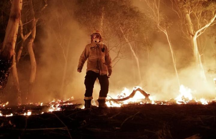 Canterbury University student fighting Australian bush fires Fergus Simpson in the midst of one of the blazes.