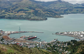 Lyttelton Harbour as seen from the Port Hills.