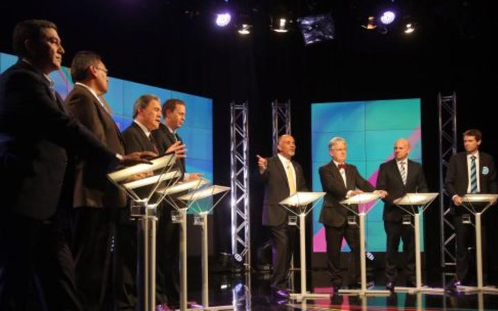 From left:  Brendan Horan, Hone Harawira, Winston Peters, Russel Norman, Te Ururoa Flavell, Peter Dunne, Jamie Whyte and Colin Craig.