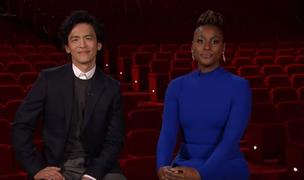 John Cho and Issa Rae announcing the 92nd Academy Awards nominations.