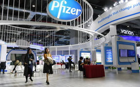 The booth of Pfizer Inc. during the second China International Import Expo (CIIE) in Shanghai, east China.