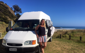 Lisa Jansen with her campervan