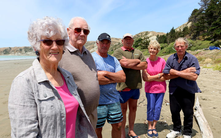 The Marfell family - Helen, Maurice, Ken, Phil, Shirley and Ken - at Marfells Beach in Marlborough, which they gifted to the Crown for public enjoyment.