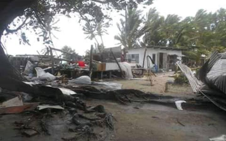 Damage caused by Cyclone Tino in Tuvalu.