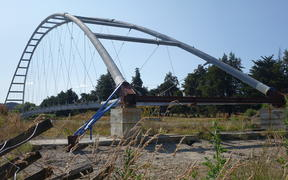 The $2.5 million Upokongaro Cycle Bridge has been sitting in a paddock since late 2018.    The $2.5 million Upokongaro Cycle Bridge has been sitting in a paddock since late 2018.
