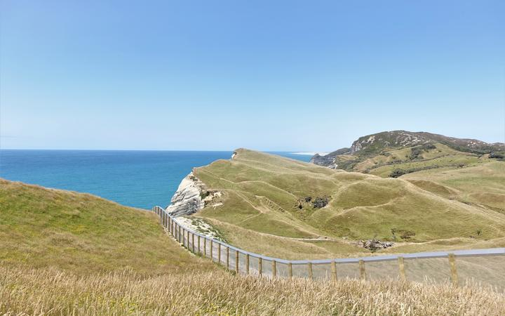 The 200m predator fence at Cape Farewell and Farewell Spit in the distance.