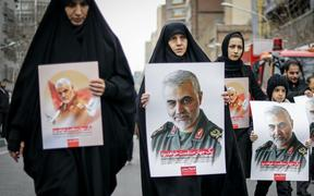 Iranians take part in an anti-US rally to protest the killings during a US air strike of Iranian military commander Qasem Soleimani and Iraqi paramilitary chief Abu Mahdi al-Muhandis on January 4, 2020 in Tehran, Iran.