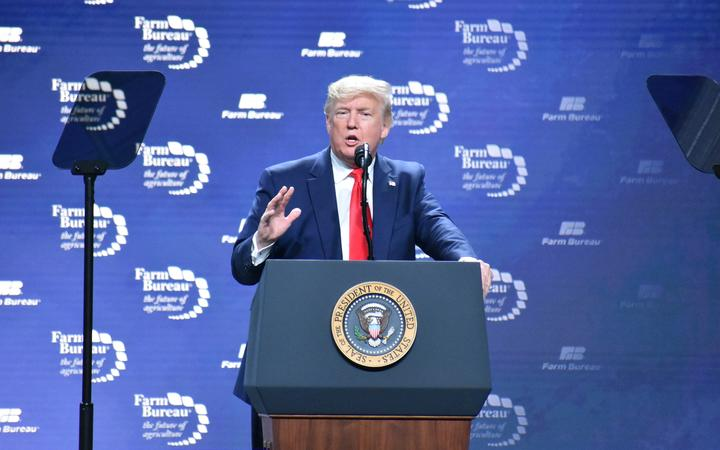 President Donald Trump addresses at the American Farm Bureau Federation Annual Convention and Trade Showin Austin, Texas.