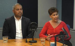 Whānau Ora Minister Peeni Henare and Commissioning Chair Merepeka Raukawa-Tait in the Checkpoint studio.