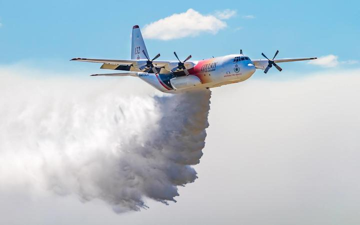 A Large Air Tanker in use against Australian bushfires.
