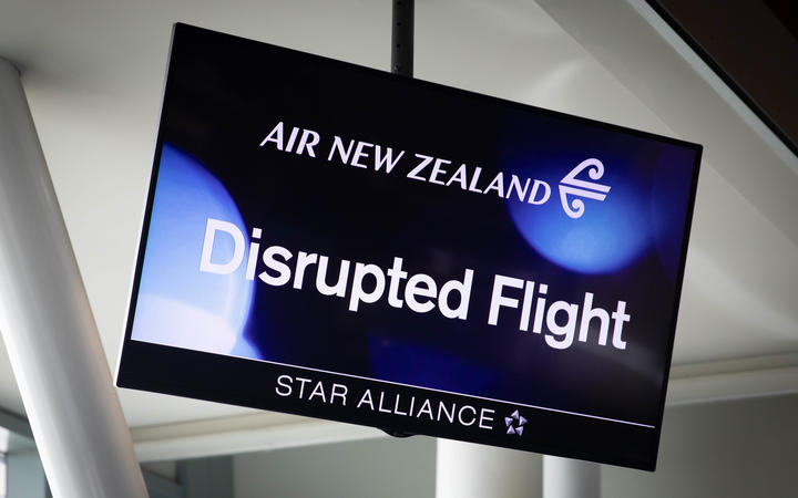 Low fog delays and cancels flights at Wellington Airport Tues 21st Jan 2020.  Disrupted flight sign