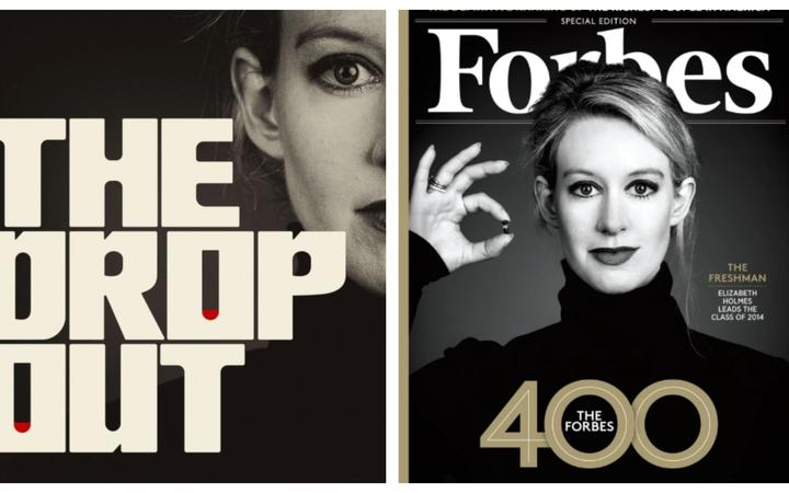 Right -The Dropout logo and Left Elizabeth Forbes on the cover of Forbes Magazine