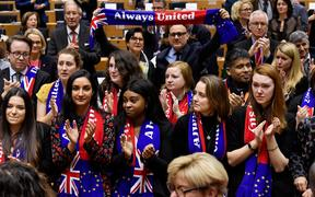 Members of Group of the Progressive Alliance of Socialists and Democrats in the European Parliament during a ceremony at the Europa Building in Brussels, on January 29, 2020.