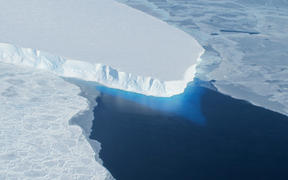 This undated photo courtesy of NASA shows Thwaites Glacier in Western Antarctica.   A major ice sheet in western Antarctica is melting, and its collapse is predicted to raise global sea level nearly two feet (61 centimeters), scientists said May 12, 2014.