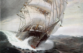 A painting of SMS Seeadler, the triple-masted windjammer Von Luckner captained during WWI