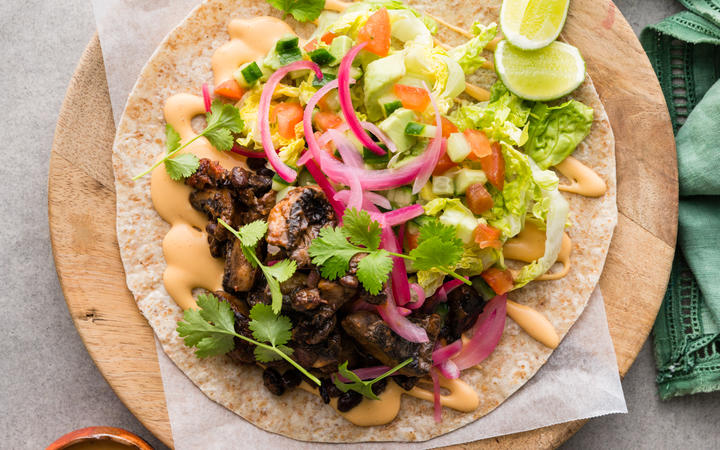 Pulled Mushroom Tacos with Pink Pickled Onions and Smoky Mayo