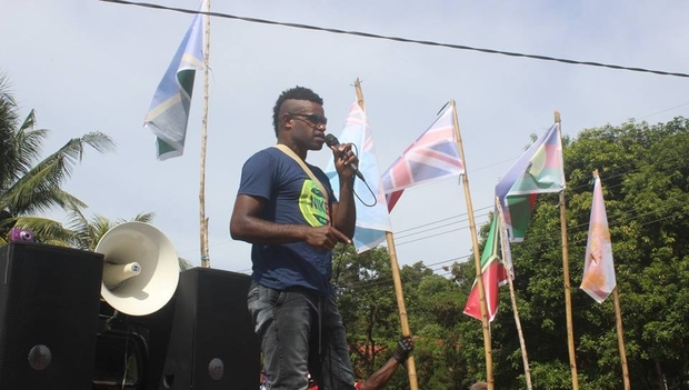 West Papuan professional footballer Eneko Pahabol addresses the crowd at the Liberation Movement demonstration in Jayapura, 13 April, 2016.