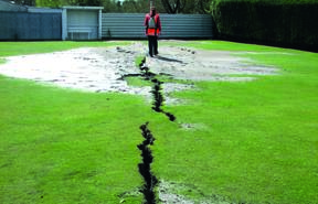 Liquefaction at the Kaiapoi Croquet Club in 2010.