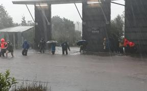 Flooding at the Milford Visitors' Terminal.
