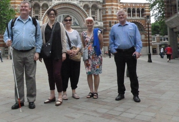 Ken Joblin & Friends in front of Westminster Cathedral (L to R) Ken Joblin, Stephanie Waterhouse, Louisa Pilkington, Ruth Reed and Wally Enright.