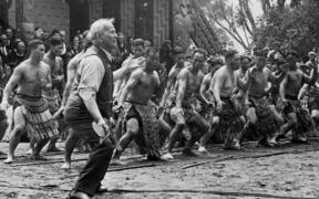 Sir Apirana Ngata leading a haka at Waitangi Day Feb 6, 1940