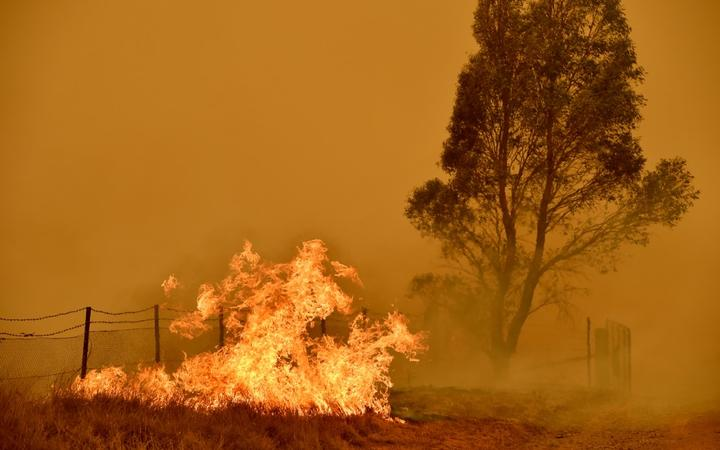 Bushfires burn near the town of Bumbalong south of Canberra on February 1, 2020.