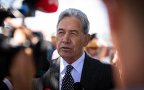 Ratana Fri 24th January 2020.  Political parties are welcomed on to the marae.  Winston Peters outside the Temple at Ratana, waiting to be welcomed on to the marae.