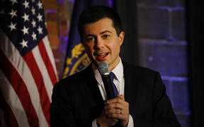 Democratic presidential hopeful Pete Buttigieg greets supporters in Manchester, New Hampshire the morning after the flawed Iowa caucus on 4 February 2020.
