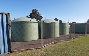 Emergency water tanks at Kaikohe. Level 4 water restrictions are being applied in Kaikohe restricting residential water use to drinking, cooking and washing only. 5 February 2020.