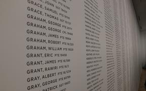 A list of names at Te Rau Aroha, a museum at Waitangi honouring Māori who have fought in conflicts in New Zealand and overseas.