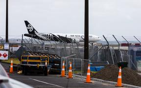 Air New Zealand's flight NZ1942 touches down on kiwi soil. It is the Air New Zealand flight chartered by the government to evacuate people from Wuhan during the coronavirus outbreak.