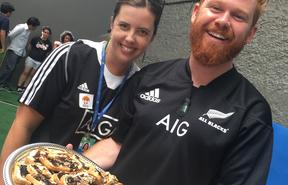 Victoria and Ben introducing their school to marmite and the All Blacks Porto Alegre, Brazil