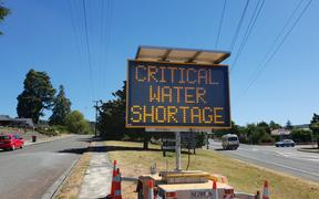 Sign at Wakefield warning people of a water shortage in the area.