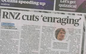 RNZ's music plan hist the front page of the Dominion Post.