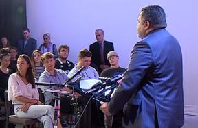 The broadcasting minister updates an audience in Christchurch on his public media plans.