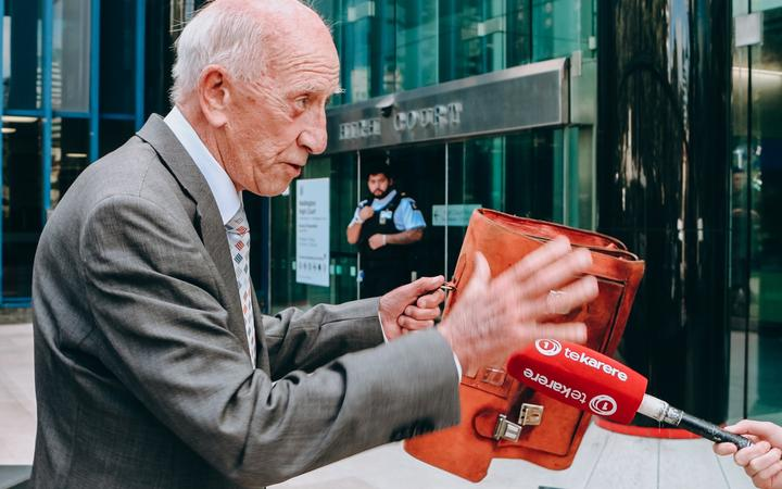 Sir Bob Jones outside the High Court at Wellington on Monday 10 February on the first day of a defamation case.