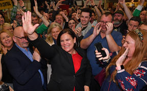 Irish republican Sinn Fein party leader Mary Lou McDonald  celebrates with her supporters after she takes the Dublin Central constituency on the first count.