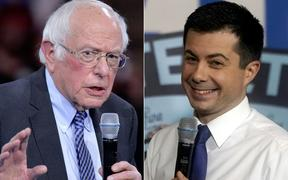 Democratic presidential contenders Vermont Senator Bernie Sanders (left) and former South Bend Indiana mayor Pete Buttigieg.