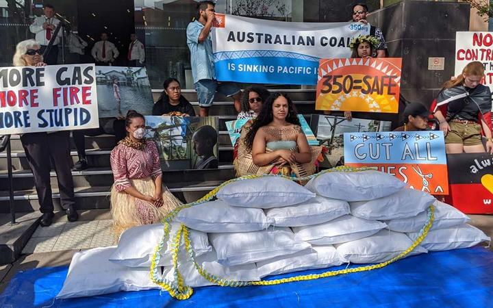 Pacific climate activists demonstrate outside the Australian Parliament