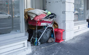 General vision of homelessness in Auckland central city.