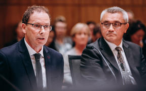 RNZ chief executive Paul Thompson, left, and board chairman Dr Jim Mather at the Economic Development, Science and Innovation select committee on Thursday 13 February.